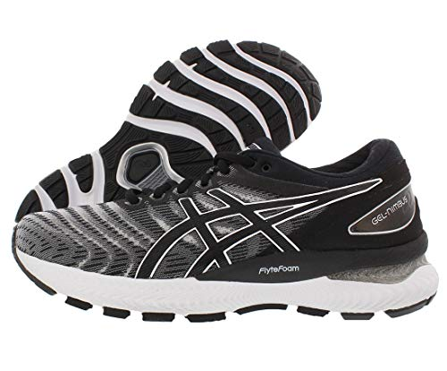 ASICS Women's Gel-Nimbus 22 (D) Running Shoes, 9.5W, White/Black