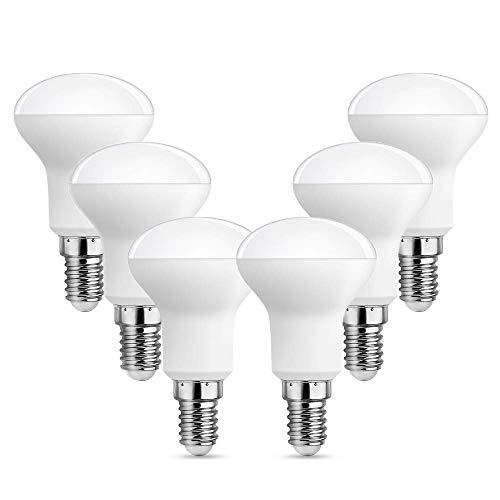 Lampadina R50 E14 LED Luce Fredda 6000K, Luce 120°, 5W Equivalente E14 40W-50W, 500 Lumen, AC 230V, Non-dimmerabile, Piccola Faretto LED R50 per Lampadario/Plafoniera, set di 6