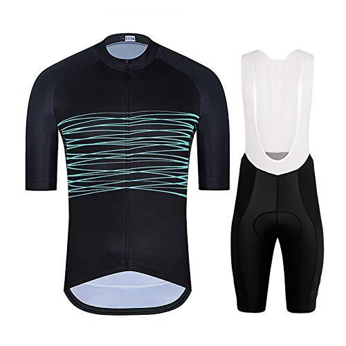 LSZ Ropa De Ciclismo para Hombre Trajes De Verano Clásico Transpirable De Secado Rápido Camiseta De Ciclismo De Manga Corta con Pantalones Cortos Acolchados De Gel 9D (Color : D, Talla : 3XL)