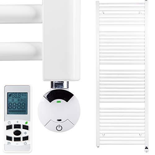 HEATSUPPLY® Badheizkörper elektrisch 1.662 x 600mm Handtuchheizkörper 900 Watt Handtuchtrockner weiß mit Smart Program Thermostat und Fernbedienung