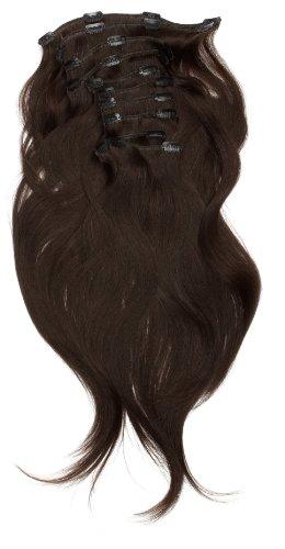 Love Hair Extensions - LHE/A1/QFC/120G/10PCS/18/1B - 100 % Cheveux Naturels Lisses et Soyeux - 10 Pièces Clippants en Extensions - Couleur 1B - Noir Nature - 46 cm