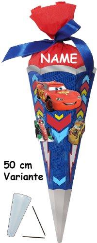 alles-meine.de GmbH BASTELSET - Schultüte - Schultüte - Disney Cars 50 cm - incl. Namen - Zuckertüte Nestler ALLE Größen - 6 eckig Queen Lightning Auto Jungen McQueen Autos Fahrz..