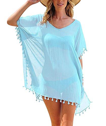 Copricostume Donna Mare Costume da Bagno Abito Spiaggia Caftano da Abiti Pareo Tunica Mare Copri Costumi Copricostumi Scollo a V Camicia Vestito Boho Signora Cover Up Vestiti Parei da Mare Azzurro