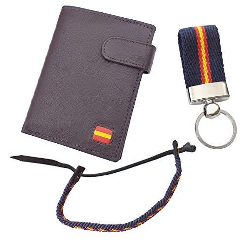 Tiendas LGP - Cartera Billetero Monedero, Bandera de España, Caballero -Piel Autentica, Color marrón + Llavero + Pulsera