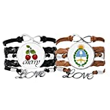 Bestchong Buenos Aires Lot de 2 bracelets en cuir avec embl�