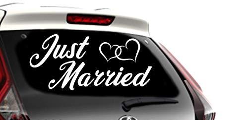 Shirtstown Just Married Aufkleber Hochzeit Liebe Herzen Sticker Auto 60 cm, Farbe Silber