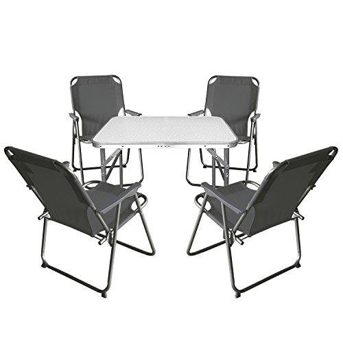Multistore 2002 5tlg. Campingmöbel Set Klapptisch, Aluminium, 75x55cm + 4X Campingstuhl, Stone/Strandmöbel Campinggarnitur Gartenmöbel