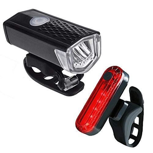 WYW Luz Bicicleta Recargable USB, Linterna Bicicleta Impermeable con Luz Bicicleta Delantera,Luz Trasera Bicicleta,Luz LED Bicicleta para Carretera y Montaña,Seguridad para la Noche,2