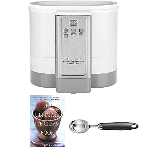 Cuisinart CYM-100 Electronic Yogurt Maker with Automatic Cooling,3.12lb Jar capacity,(1.5L) Includes Cuisinart CTG-01-IS Curve Handle Ice Cream Scoop and Ice Cream Book (Renewed)