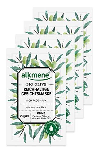 alkmene Gesichtsmaske mit Bio Olive - Reichhaltige Feuchtigkeitsmaske für sehr trockene Haut - vegane Gesichtsmasken ohne Silikone, Parabene, Mineralöl, PEGs, SLS & SLES im 8er Pack (8x 6 ml)