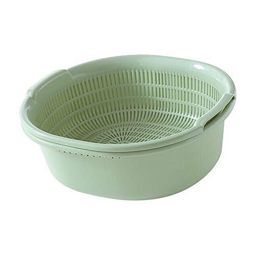 Daytwork Double Deck Passoire Set Egout Basket - Cuisine Salade Fruits Légumes Riz Filtre Lavage Passoire à bol avec Plastique Bassin 2pcs / Set
