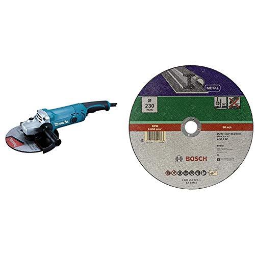 Makita GA9050R Winkelschleifer 230 mm 2000 Watt & Bosch DIY Trennscheibe Metall (für Winkelschleifer, Ø 230 mm, gerade, A 30 S BF)