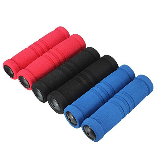 WSERE 3 Pairs Bicycle Grip Bike Handlebar Comfort Hand Grips for Bikes, Black & Blue & Red