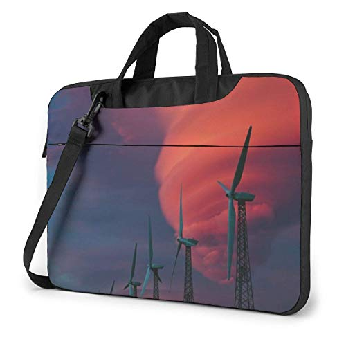 Laptop Shoulder Bag Carrying Laptop Case, Windmill Pattern Computer Sleeve Cover, Business Briefcase Protective Bag