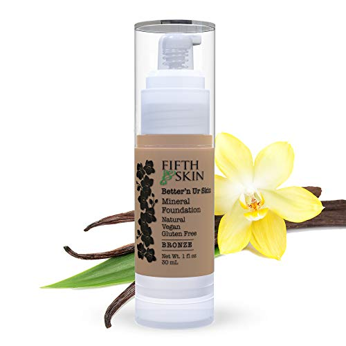 Fifth & Skin (BRONZE) Better'n Ur Skin Liquid Foundation – Natural – Organic - Gluten Free - Vegan - Cruelty Free - Palm Free - Natural Sun Protection – Healthy, Buildable Coverage - 1 oz.