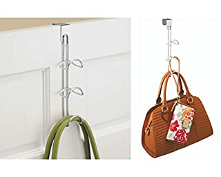 """iDesign Classico Over-The-Door Closet Organizer, 3-Hooks for Hanging Handbags, Backpacks, Totes, Towels in Bedroom, Bathroom, Mudroom, Office, 3.25"""" x 4.5"""" x 12.88"""" - Chrome (B008VQIGBK) 