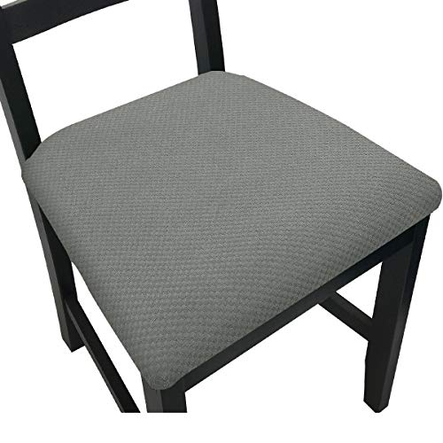 Chair Seat Covers for Dining Room Chair Seat Slipcovers (Light Grey, 4)