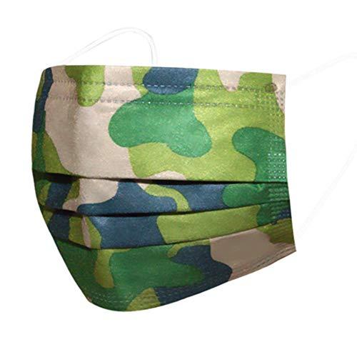 DECADE -GRÜN Mundschutz Einwegmaske Mundschutz Staubschutz Masken mit Ohrschlaufen - Leuchtend (Camouflage Grün)