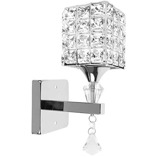 Moderne Stil Kristall Anhänger Wandleuchte Schlafzimmer Gang Wohnzimmer Diele Wandleuchte Halterung E14 Sockel, Birne nicht enthalten(Silber)