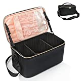 Large Makeup Bag,Portable Travel Makeup Case Cosmetic Train Case Make Organizer Bag Storage with Shoulder Strap and Adjustable Dividers for Makeup Brushers and Cosmetics Toiletries- Black