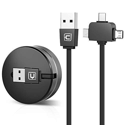 CAFELE ライトニングケーブル USB Type-Cケーブル3in1 充電ケーブル 巻き取り式 長さ1m iPhone x / iPhone8 / iPhone7 / iPadなど充電対応 データ転送ケーブル (ブラック)