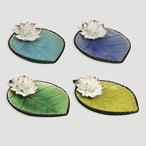 takestop Huevo bolsillos con forma de hoja con flor de cerámica, 16 x 10,5 cm, portaobjetos, para centro de mesa, bandeja organizadora de entrada, color aleatorio