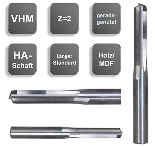 VHM Schaftfräser, Z=2, geradegenutet für Holz, MDF, 3/4 / 5/6 / 8 mm, lang, Größe: 3,00x15x50 mm - d2=3 mm