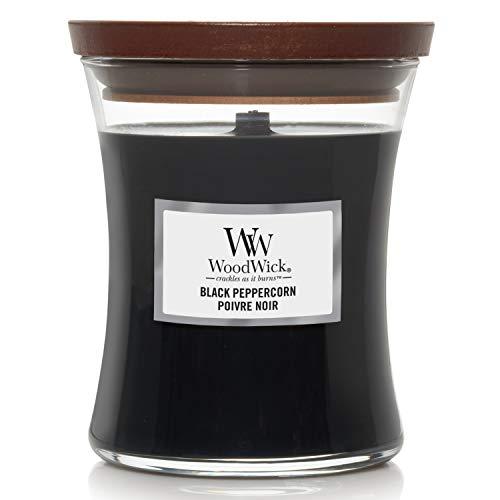 WoodWick mittelgroße Duftkerze im Sanduhrglas mit knisterndem Docht | Black Peppercorn | Brenndauer bis zu 60Stunden