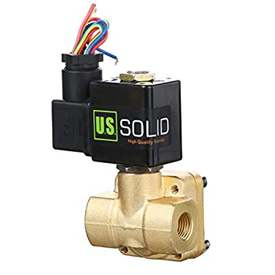 "1/4"" Brass Electric Solenoid Valve 12V DC Normally closed 230 PSI VITON Water Air Oil from U.S. Solid"