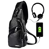 Men's Leather Sling Bag,Chest Shoulder Backpack, Water waterproof Crossbody Bag with USB Charging Port for Travel, Hiking ,Cycling (black)