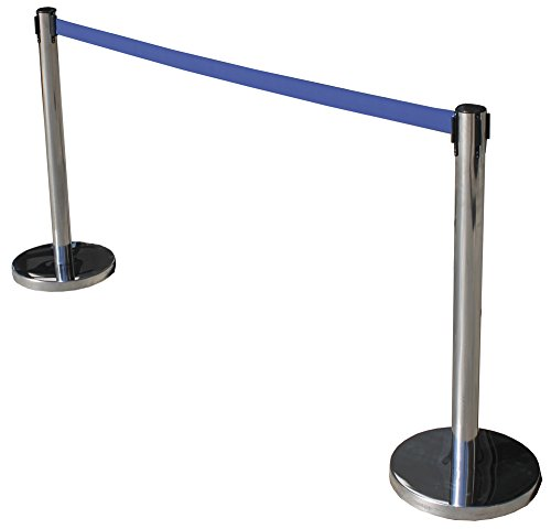 Poste separador de acero inoxidable con Cinta Extensible Azul 3m. Delimitador de paso con cinta extensible de 3 m. Poste...
