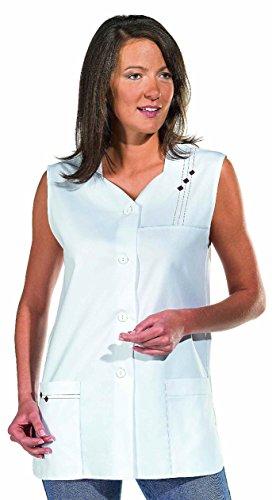 clinicfashion 10112033 Kurzkasack ohne Arm, weiß für Damen, Mischgewebe, Größe 36