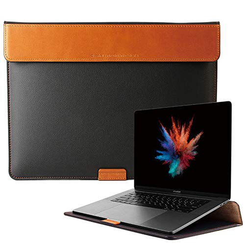 BEFINE - Apple MacBook Pro 16' Handmade Premium Leather Stand Pouch,Slim,Modern and Durable Case (Black)