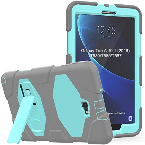 Galaxy Tab A 10.1 Hoesje (SM-T580/SM-T585/SM-T587), SEYMAC Full Body Schokbestendig Rugged case met Robuuste Kickstand voor Samsung Galaxy Tab A 10.1 inch 2016/2018 Tablet No S Pen(Lichtblauw/Grijs)