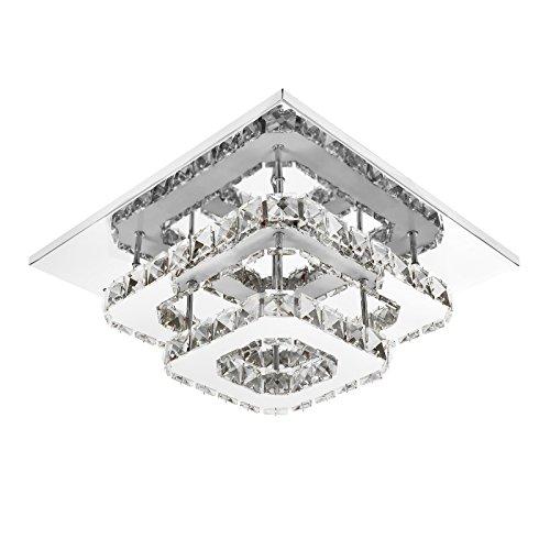 ETiME Deckenleuchte Kristall Deckenlampe LED Modern Kronleuchter für Flur, Gang, Balkon, Schlafzimmer (24W Weiß)