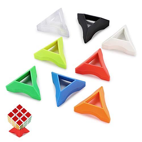 BSTKEY 40 soportes de cubos de velocidad de color, cubos mágicos, bases, rompecabezas de bases, cubo de Rubix, incluye negro, blanco, transparente, rojo, naranja, amarillo, verde, azul