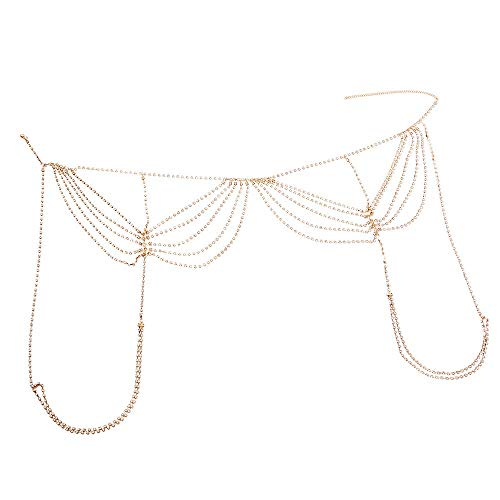 Collares de las mujeres Atractivo de la borla del Rhinestone lleno del muslo cadena Cadena femenina del club nocturno del cuerpo del Rhinestone Para mujeres ( Color : Gold , Size : Free size )