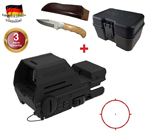 Maximtac Falke LE QL Gen 2 Leuchtpunktvisier Militär Red-Dot, Premiumklasse Reflexvisier - Rotpunktvisier Modell 2018 + Jagdmesser