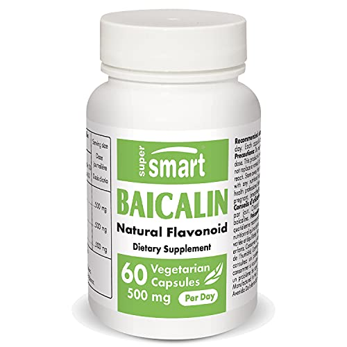 Supersmart - Baicalin 500 mg Per Serving - Scutellaria Baicalensis Extract - Natural Alternatives to Benzodiazepines - Combats Anxiety | Non-GMO & Gluten Free - 60 Vegetarian Capsules
