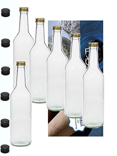 Vitrea 6 Leere Glasflaschen 1000ml 1 Liter Geradh mit Schraubverschluss Schwarzer Deckel zum Selbstbefüllen