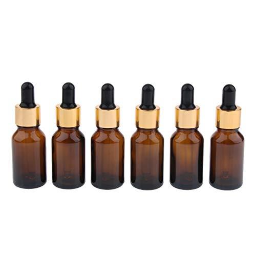 SDENSHI 6x Flacons en Verre Ambre de 5ml -100ml avec Pipettes en Verre, Bouteilles Compte-Gouttes pour Huiles Essentielles/Aromathérapie - 20ml