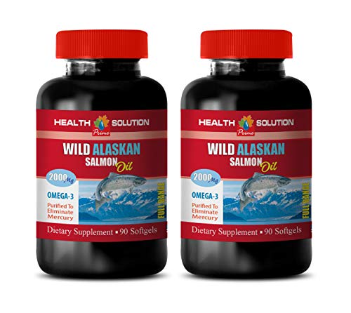 Brain Function Energy Supplement - Wild Alaskan Salmon Oil 2000 MG - Omega 3 - Fish Oil Omega 3 softgels - 2 Bottles 180 Softgels