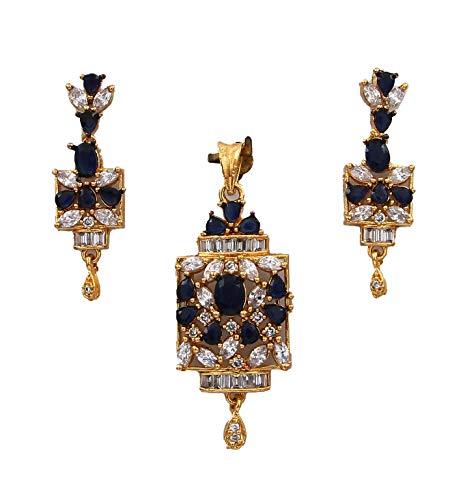 CaratYogi cobre chapado en oro Oval Pear Blue zafiro azul