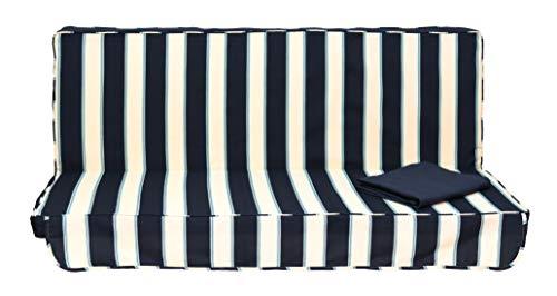 Stiliac 9411T311 Set Cuscini e Tettuccio di Ricambio per Dondolo 3 Posti, Rigato Bianco/blu, 150x55x6 cm