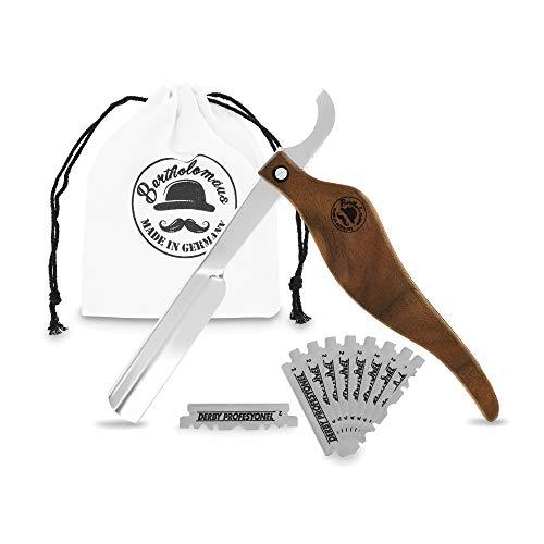 Bartholomäus Rasiermesser Echtholz mit 10 Derby Wechselklingen und Reisetasche aus Baumwolle | Rasur Set für Einsteiger & Fortgeschrittene