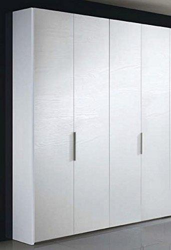 Liderasta - Armario de 4 puertas, color blanco, fresno de poro abierto