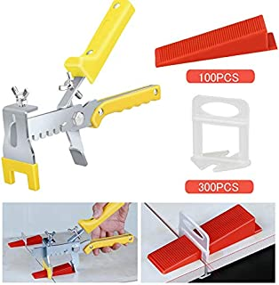Premium Tile Leveling System with Push Pliers, 300PCS 1/16 Inch Leveler Spacers Clips..