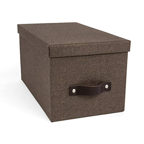 Bigso Silvia Canvas Fiberboard Organizational Storage Box, 5.9 x 6.5 x 11.6 in, Dark Brown -  Bigso Box Sweden, 5921C4843
