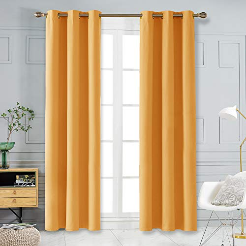 Deconovo Room Darkening 108 Inches Length Blackout Curtains Thermal Insulated Sound Reduction Curtains for Glass Sliding Door Set of 2 Each 42x108 Inch Orange Flame