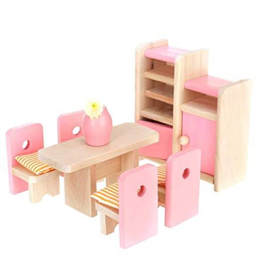Dollhouse Juguete, Casa de muñecas en Miniatura de Muebles de Madera, Casa de muñecas Muebles de Comedor de Madera Conjunto Mesa + Silla + Display Unidad + Jarrón